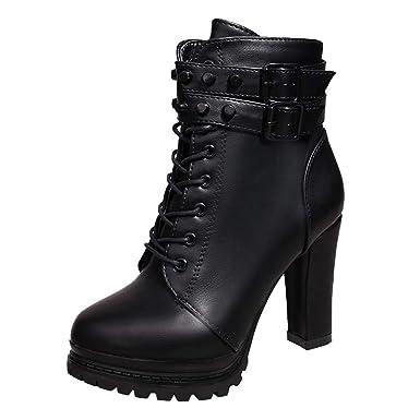 ❤ Botas de tacón Alto de Invierno para Mujer, Zapatos Martain Boot de Cuero con Cordones de Color sólido Zapatos de Punta Redonda Absolute: Amazon.es: ...