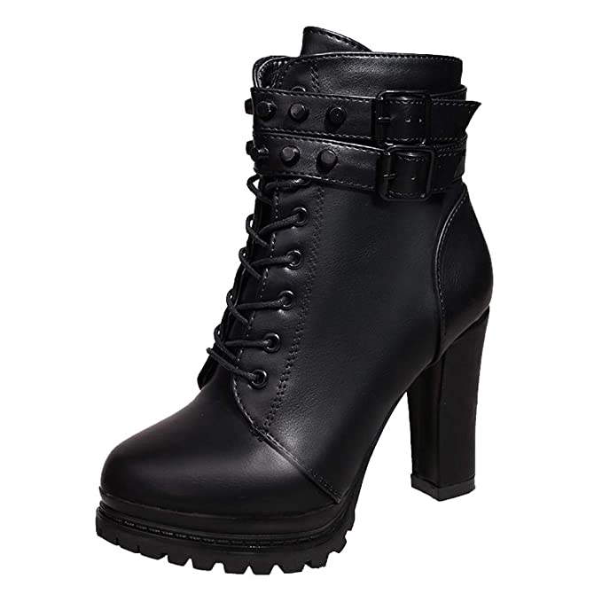 d89a32bd4f2 Hunzed Women Shoes High-Heeled Straps Round Leather Rivets Women's Booties  Girl's Boots