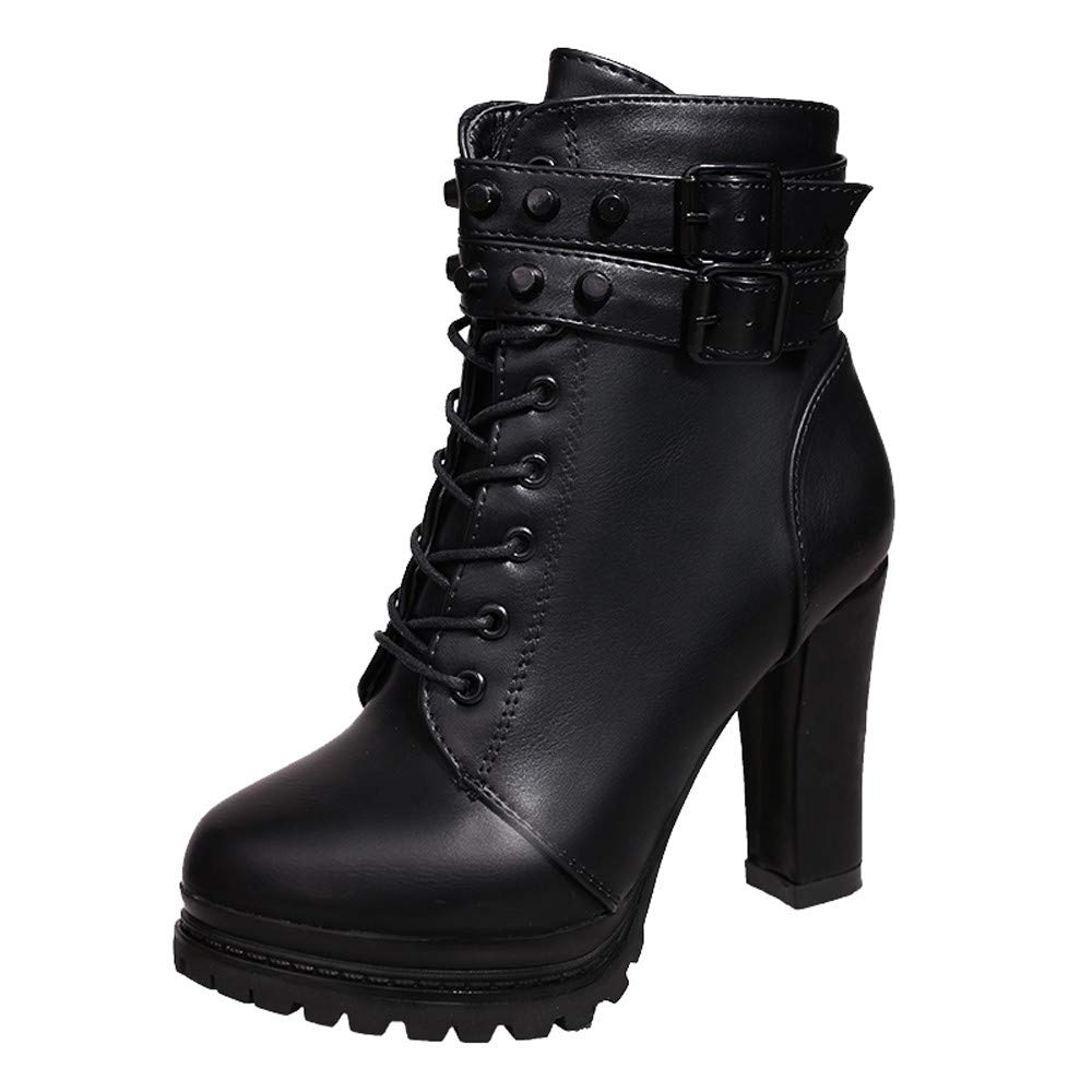 Gift Ideas! Teresamoon Women High Heel Shoes Martain Boot Leather Lace-Up Solid Color Round Toe Shoes