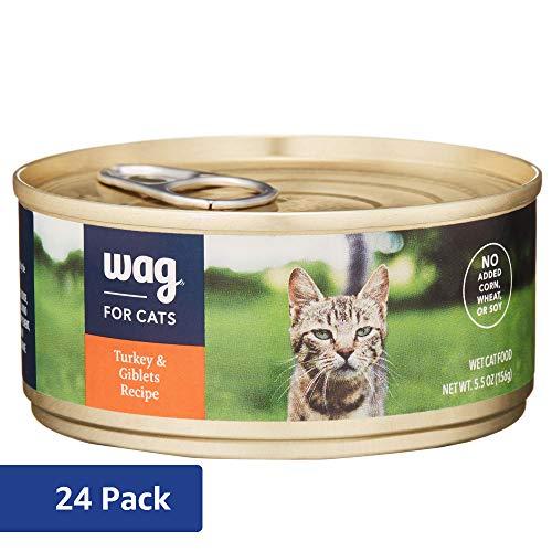Amazon Brand - Wag Wet Cat Food, Turkey & Giblets Recipe, 5.5 oz Can (Pack of 24)