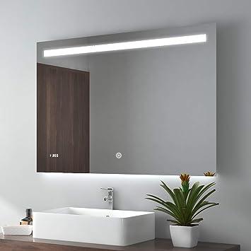 100x60cm LED Badspiegel Wandspiegel Beleuchtung Badezimmerspiegel mit  Touchschalter, Beschlagfrei, Uhr