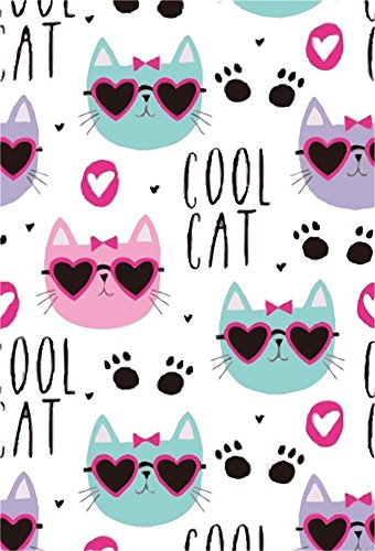 AOFOTO 3x5ft Cartoon Cool Cat with Sunglass Backdrop Cute Pet Paw Claw Print Pattern Photography Background Lovely Kitten Animal Kid Children Party Decoration Photo Studio Props Vinyl Wallpaper