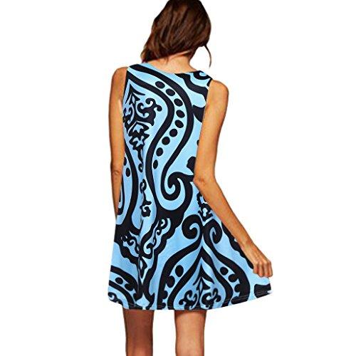 Mujeres del la las Cuello de OverDose Azul Sin Redondo Mangas vestidos E Vendimia de Impresión Verano qROFg
