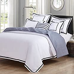Hotel Luxury 3pc Duvet Cover Set- Elegant White/Black Trim Hotel Quality Design-Silky Soft- Wrinkle & Fade Resistant Bedding..Full/Queen