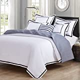 Black and White Duvet Set Hotel Luxury 3pc Duvet Cover Set- Elegant White/Black Trim Hotel Quality Design-Silky Soft- Wrinkle & Fade Resistant Bedding..Full/Queen