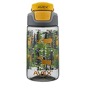 AVEX Kids Freeride Moose Autoseal Water Bottle, Gray, 16 oz