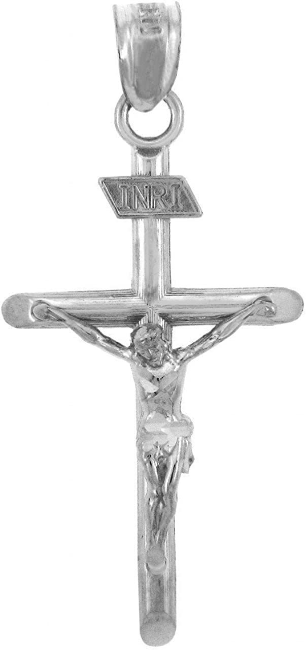 14k White Gold Polished INRI Crucifix Pendant