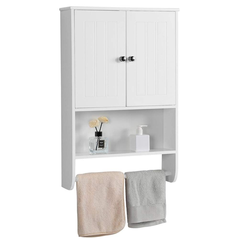Yaheetech Bathroom Organizer Cupboard Wall Mounted Medicine Cabinet – Double Door Adjustable Shelves Hanging Bar, White