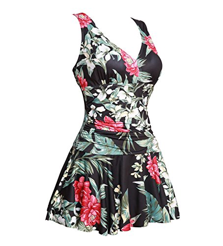 MiYang Women's Plus-Size Flower Printing Shaping Body One Piece Swim Dresses Swimsuit