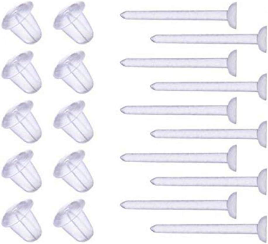 Pendientes invisibles de pl/ástico en blanco 100 unidades, 50 pares Cooplay 3 mm