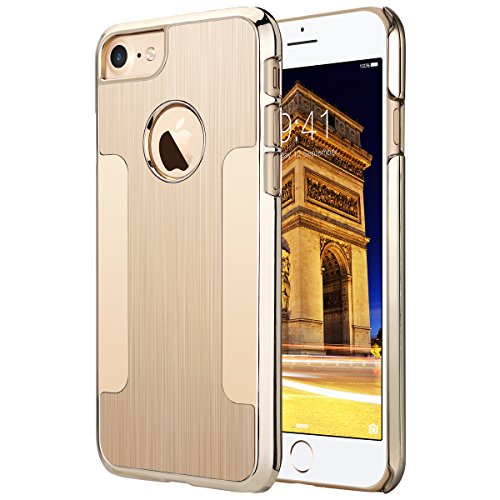 iPhone 7 Case, ULAK Hybrid Aluminum Chrome Coating [Gold] Bumper Protective Case Cover for Apple iPhone 7 4.7 inch (2016)