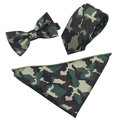 Ainow Mens Fashion Polyster Skinny Neck ties and Bowtie Pocket Square 3pcs Set (Dark Green Camouflage)