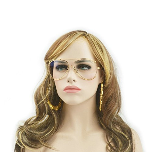 MINCL/Unisex Clear Lens Glasses Large Frame Eyewear fashion Eyeglasses (clear+gold, - End High Eyeglasses Brands
