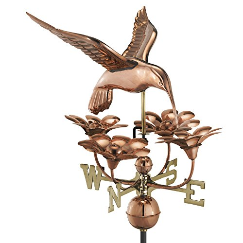 (Good Directions Hummingbird with Flowers Weathervane, Pure Copper)