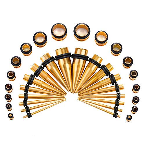 - HuayoRong 14G-00G 36Pcs Ear Gauges Stretching Kit Surgical Steel Tapers Plugs Eyelets Implant Grade Steel Body Jewelry Piercing (Golden)