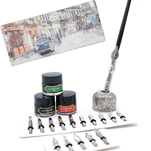 GC QUILL Calligraphy Pen Set, Wooden Dip Pen with 16 Dip Nibs, 3 Ink Bottles and 1 Pen Holder, Calligraphy Set for Beginners - MU-04 (Set Set Dip Dip)