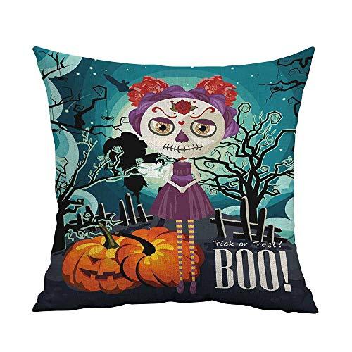 Halloween Pillowcase Hug Pillowcase Cushion Pillow Cartoon Girl with Sugar Skull Makeup Retro Seasonal Artwork Swirled Trees Boo Anti-Wrinkle Fading Anti-fouling W18 x L18 Inch Multicolor ()