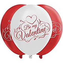 Valentines Day Balloons - 2 Colors Of Love: Passionate Red & Dazzling White - Creates Romantic Atmosphere - 40 Metallic Latex Balloons - With Fun Festive Print - Celebrate Heart's Day With Loved One
