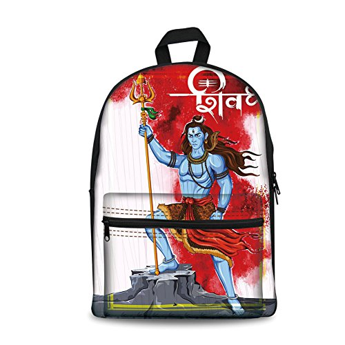 o Kids Back to School Backpack, Canvas Book Bag,Ethnic,Mighty Figure Standing on Rock with Trident Religion Worship Theme Ornate Framework,Multicolor. ()