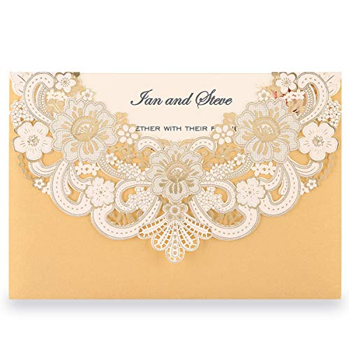 Doris Home 50pcs Gold Laser Cut Flora Lace invitation cards with Blank Inner Sheets and envelopes for wedding invitations, Bridal Shower, Engagement, Birthday, Baby Shower (50) (Gold)
