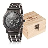 BOBO BIRD Mens Wooden Watches Luxury Wood Metal Strap Chronograph & Date Dispaly Quartz Watch Versatile Male Timepieces (Metal Black)