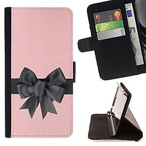 BullDog Case - FOR/Samsung Galaxy S6 EDGE / - / bow satin silk gift pink grey wrapper /- Monedero de cuero de la PU Llevar cubierta de la caja con el ID Credit Card Slots Flip funda de cuer