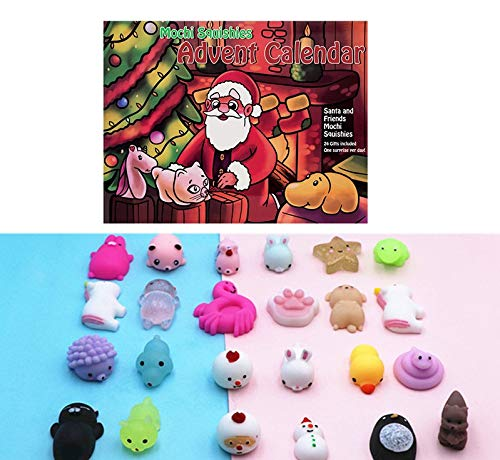 Toy Advent Calendar 2018 with 24 Different Cute Mochi squishies Including Santa! Super Gift for The Girl, boy, All Children! 24 Kawaii Squishy Toys! Super Gift! Santa's Workshop Toy Advent Calendars Ron Edmund