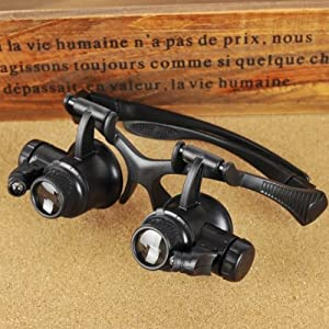 Saitec ® 10X 15X 20X 25X Watch Repair Glasses Eyewear Magnifier Loupe with LED