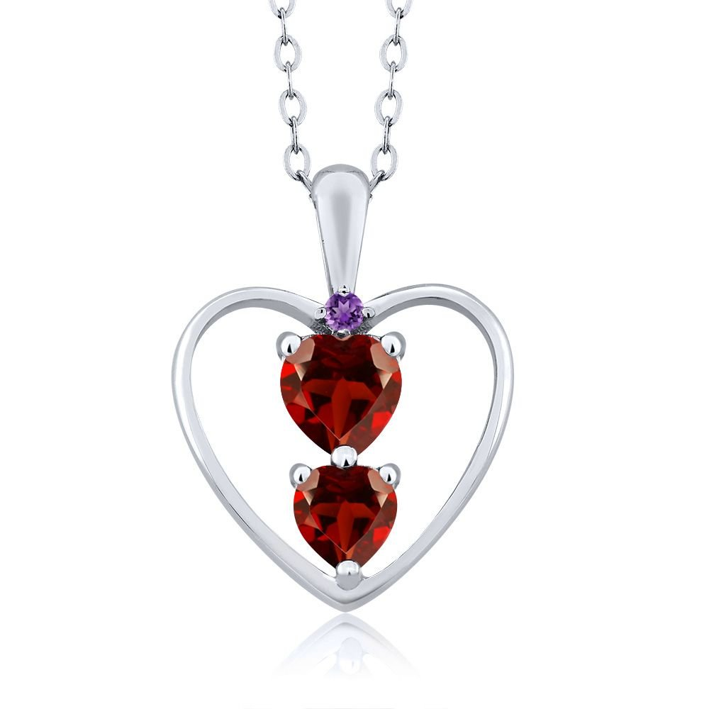 Gem Stone King 0.89 Ct Heart Shape Red Garnet 925 Sterling Silver Pendant