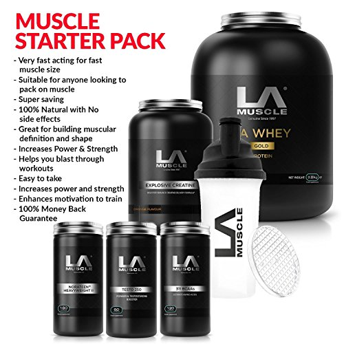 LA Muscle: Muscle Building Starter Pack, Fast results, suitable for anyone looking to pack on serious muscle size, definition, strength and power. 100% Money back guarantee. (Vanilla) by LA Muscle