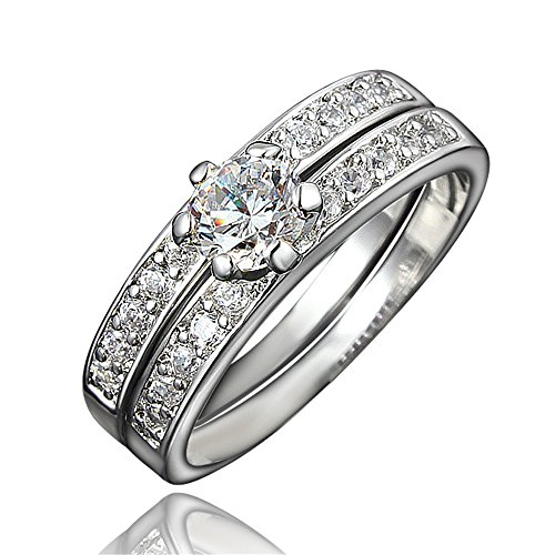 BLOOMCHARM 18K Gold Plated Stylish Engagement Wedding Eternity Ring, Gifts for Women - 70s Trends In The Popular