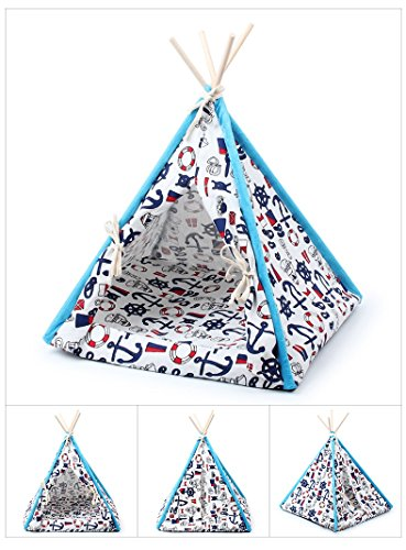 Stock Show 1Pc Removable Washable Wood Frame Canvas Tent Teepee Pet Mat Bed House Hut Portable Pet Supplies for Dog/Puppy/Cat/Kitty/Kitten(Sea Anchor Pattern, S)
