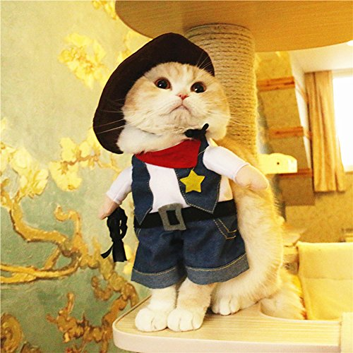 BlueSpace Pet Costume Cowboy Clothes Dog Cat Pets Suit Halloween Costumes Pets Clothing for Small Dogs and Cats, Perfect for Halloween Christmas and Theme Party, L