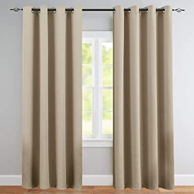 Vangao Room Darkening Curtains 84 inches Length Gray Window Treatment Triple Weave Blackout Drapes for Bedroom, Grommet Top, 2 Panels, Taupe: Kitchen & Dining