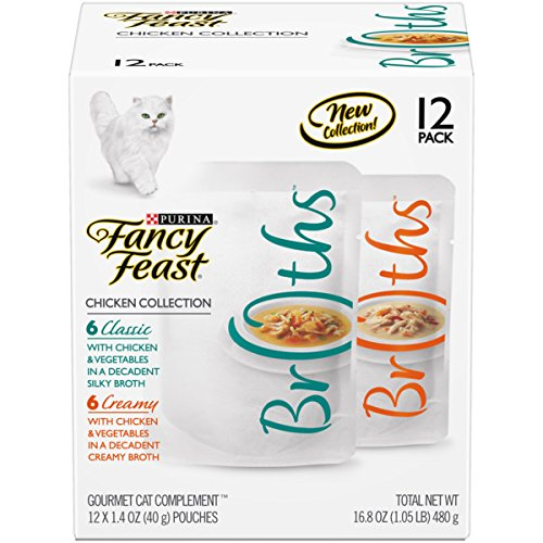 - Purina Fancy Feast Broth Wet Cat Food Complement Variety Pack; Broths Chicken Collection - (12) 1.4 oz. Pouches