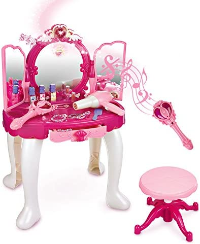 Sainsmart Jr Pretend Princess Girls Vanity Table With Fairy Infrared Control And Mp3 Music Playing Princess Dressing Makeup Table With Mirror Cosmetics And Working Hair Dryer Toys Games