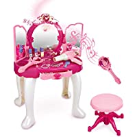 SainSmart Jr. Pretend Princess Girls Vanity Table with Fairy Infrared Control and MP3 Music Playing, Princess Dressing…
