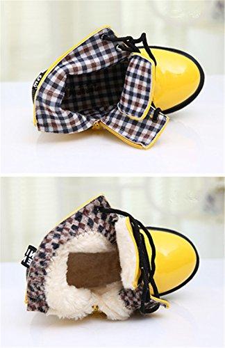 Jungen Mädchen Kurze Plüsch Wasserdicht Reißverschluss Kleinkind Booties Kinderschuhe Winter Herbst Wasserdichte Stiefel für Kinder Gelb Kurze Plüsch