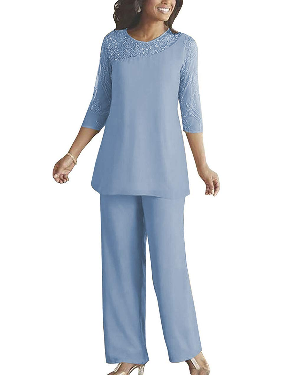 fitty lell women s chiffon beaded mother of bride pant suits dress long sleeves wedding party gown us22 plus light blue fitty lell women s chiffon beaded mother of bride pant suits dress long sleeves wedding party gown us22 plus light blue