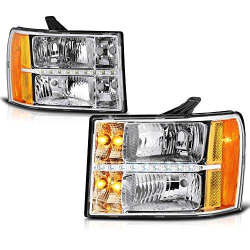 Strip Assembly - VIPMOTOZ Chrome Housing LED Strip DRL Headlight Headlamp Assembly For 2007-2013 GMC Sierra 1500 2500HD 3500HD Pickup Truck, Driver & Passenger Side