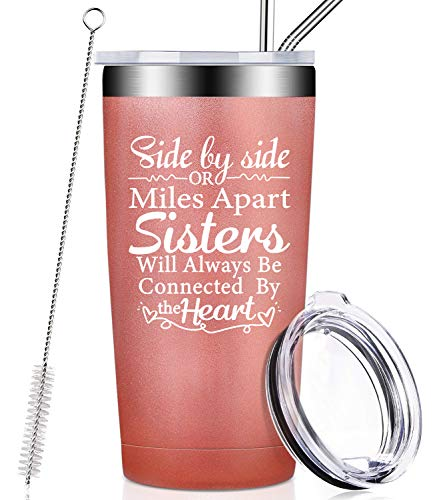 Sisters Gifts from Sister, Big Little Soul Sister Secret Birthday Christmas Gift from Brother, Side by Side or Miles Apart Sisters Will Always be Connected by the Heart, Wine Tumbler Cup - Rose Gold