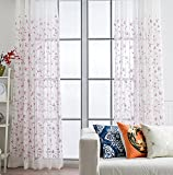 ASide BSide Asian Style Sheer Curtains Rod Pockets Home Treatment Floral Embroidered Voile Draperies For Kitchen Houseroom and Children Room (1 Panel, W 52 x L 63 inch, Purple)