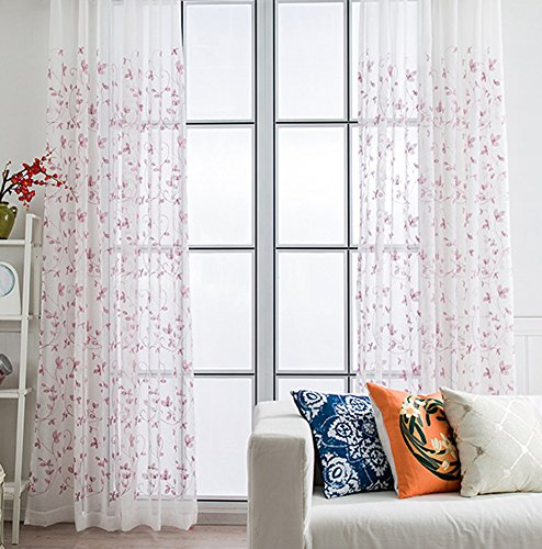ASide BSide Asian Style Sheer Curtains Rod Pockets Home Treatment Floral Embroidered Voile Draperies For Kitchen Houseroom and Children Room (1 Panel, W 52 x L 63 inch, Purple) by ASide BSide