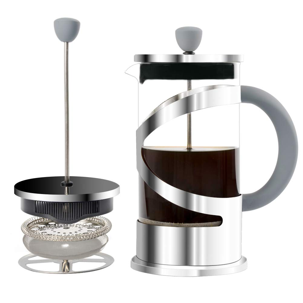 French Press Coffee Maker Tea Maker With Reusable Stainless Steel Filter, Double Premium German Glass 34oz