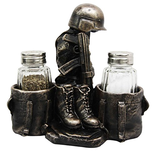 Military Soldier Uniform Attire & Rifle Decorative Glass Salt Pepper Shakers Holder Resin Figurine