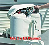 RV Propane Tank Cover for 2 x 30 Pounds Cylinder Weatherproof with Easy Open Close Zipper Heavy Duty Strong and Durable, RV and Outdoor Accessories & Free Ebook by Stock4All