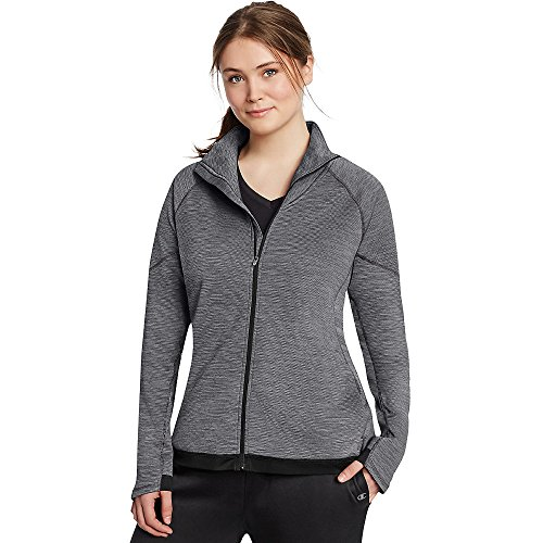 Champion Women's Plus Tech Fleece Full Zip Jacket_Granite Space Dye/Black_4XL