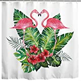 BROSHAN Flamingo Flower Shower Curtain, Romantic Flamingo Birds Tropical Palm Leaf Flowers Art Printing, Watercolor Waterproof Fabric Bathroom Decor Curtain,White Pink Green,72 x 72 inch