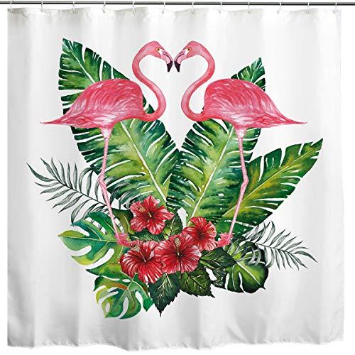 BROSHAN Flamingo Flower Shower Curtain, Romantic Flamingo Birds Tropical Palm Leaf Flowers Art Printing, Watercolor Waterproof Fabric Bathroom Decor Curtain,White Pink Green,72 x 72 inch by BROSHAN