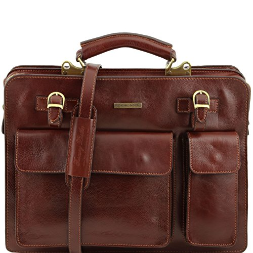 Tuscany Leather Venezia Leather briefcase 2 compartments Brown by Tuscany Leather